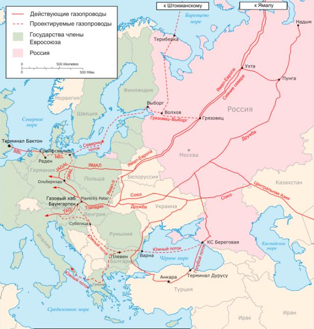 Основные газопроводы из России в Европу