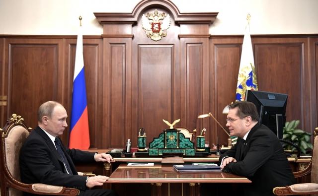 Встреча Владимира Путина с главой госкорпорации «Росатом» Алексеем Лихачёвым