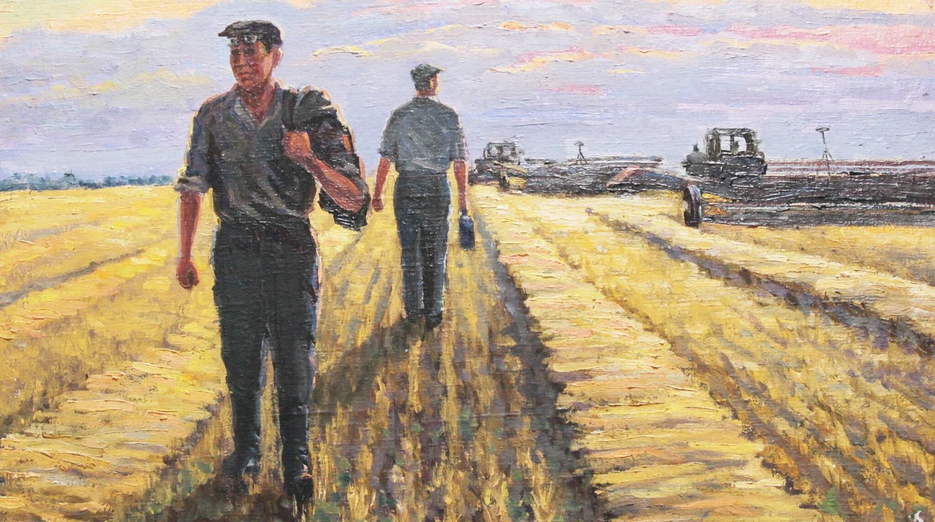 Константин Гуральчук. Пашня. Два тракториста. 1952