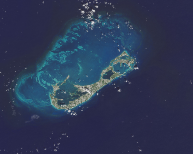 Бермудские Острова, вид со спутника Landsat 8
