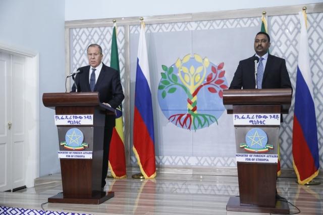 Сергей Лавров во время визита в Эфиопию