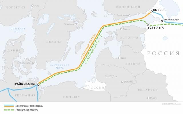 Схема газопроводов «Северный поток» и «Северный поток — 2»