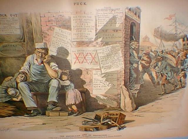 Пока бизнесмены принимали большое количество малооплачиваемых иммигрантов, много американских мужчин остались без работы. Иллюстрация PUCK. 1888