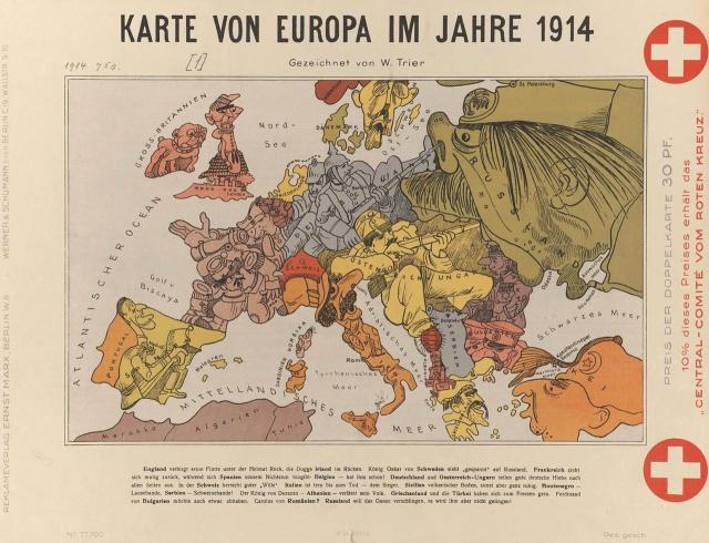Карта Европы в 1914. Берлин