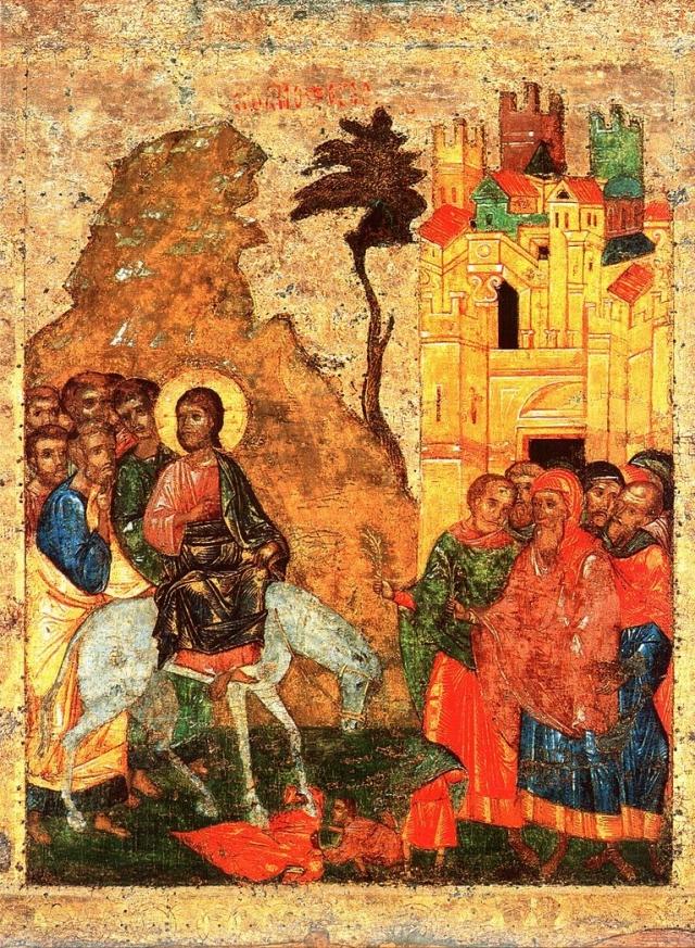 Вход Господень в Иерусалим. Русская икона XIV в