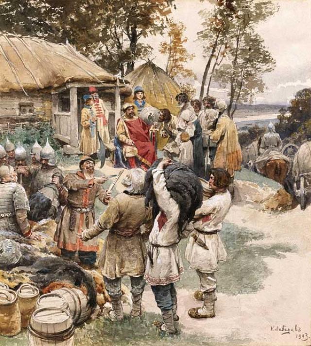 Клавдий Лебедев. Князь Игорь собирает дань с древлян в 945 году. 1903
