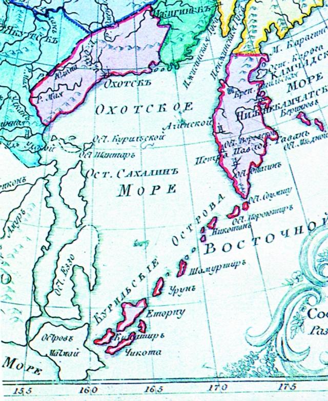 Курильские острова на карте Российской Империи