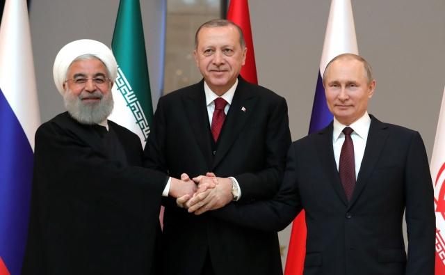 Владимир Путин, Реджеп Тайип Эрдоган, Хасан Рухани
