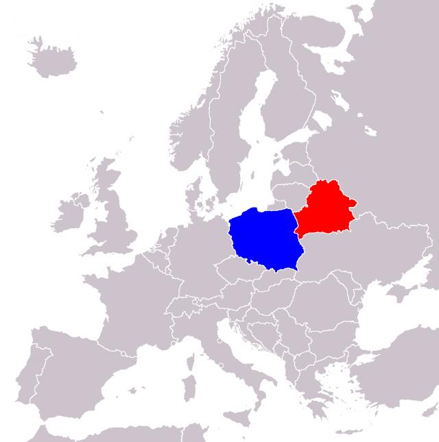 Белоруссия и Польша на карте Европы