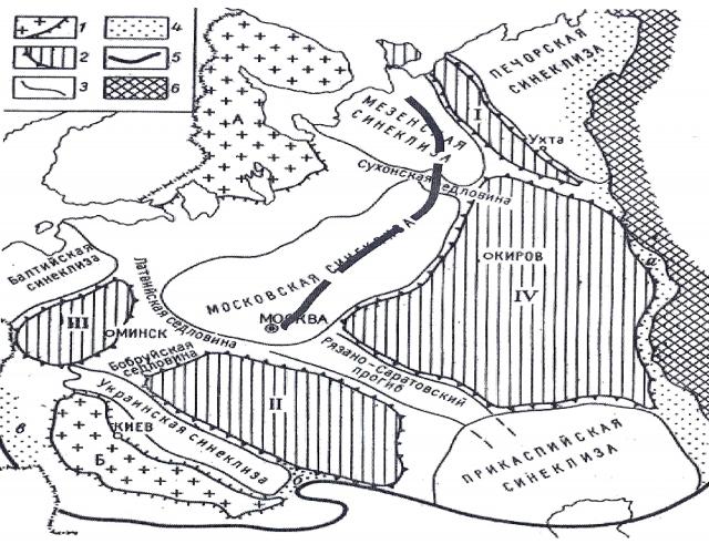 Рис. 3. Схема региональной тектоники Восточно-Европейской платформы
