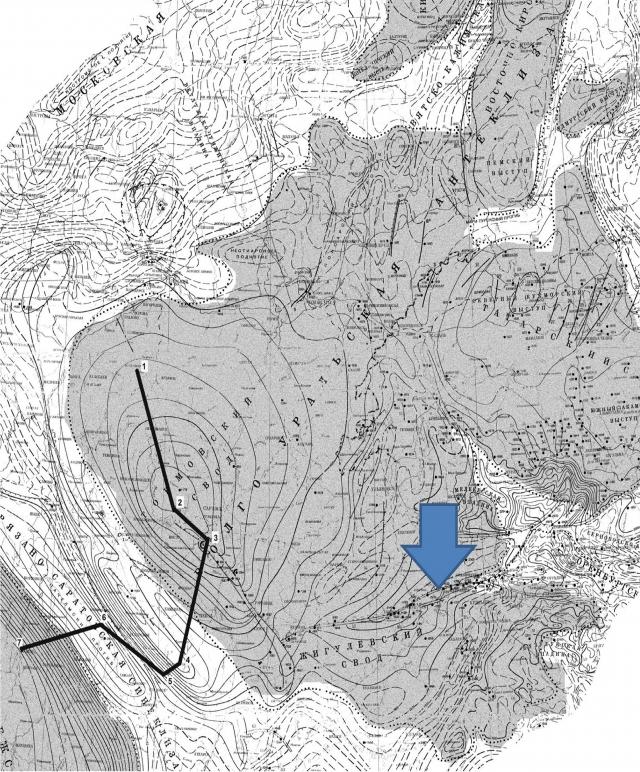 Рис. 17. Геологическая карта Волгоуральской антеклизы. Стрелкой показан внутритрапповый разлом, разделяющий Токмовский и Жигулевский своды