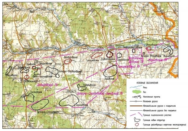 Рис. 18. Расположение действующих и прогнозных месторождений нефти в Ульяновской области