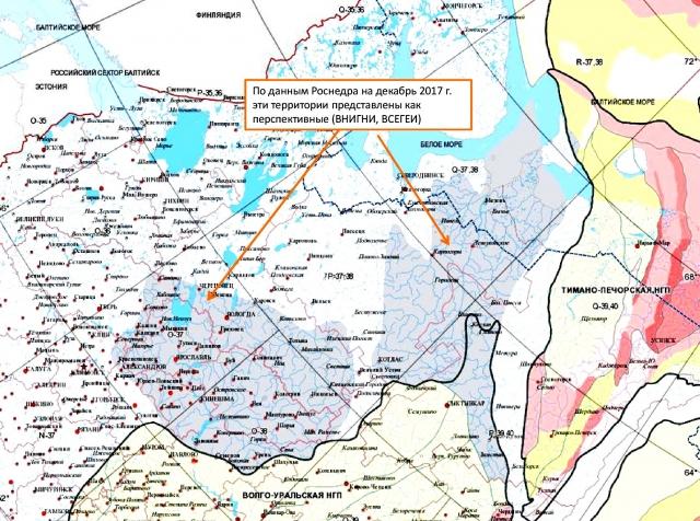 Рис. 23. Карта нефтегазоносных территорий. Серым помечены перспективные территории