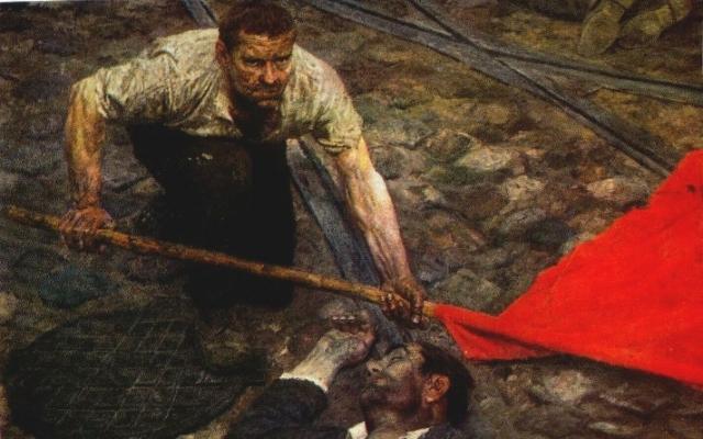Гелий Коржев. Поднимающий знамя. 1963