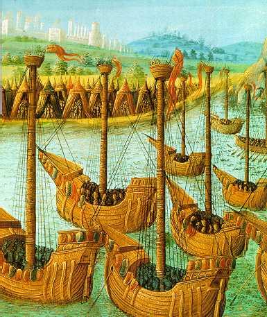 Средневековое изображение прибытия крестоносцев в Константинополь