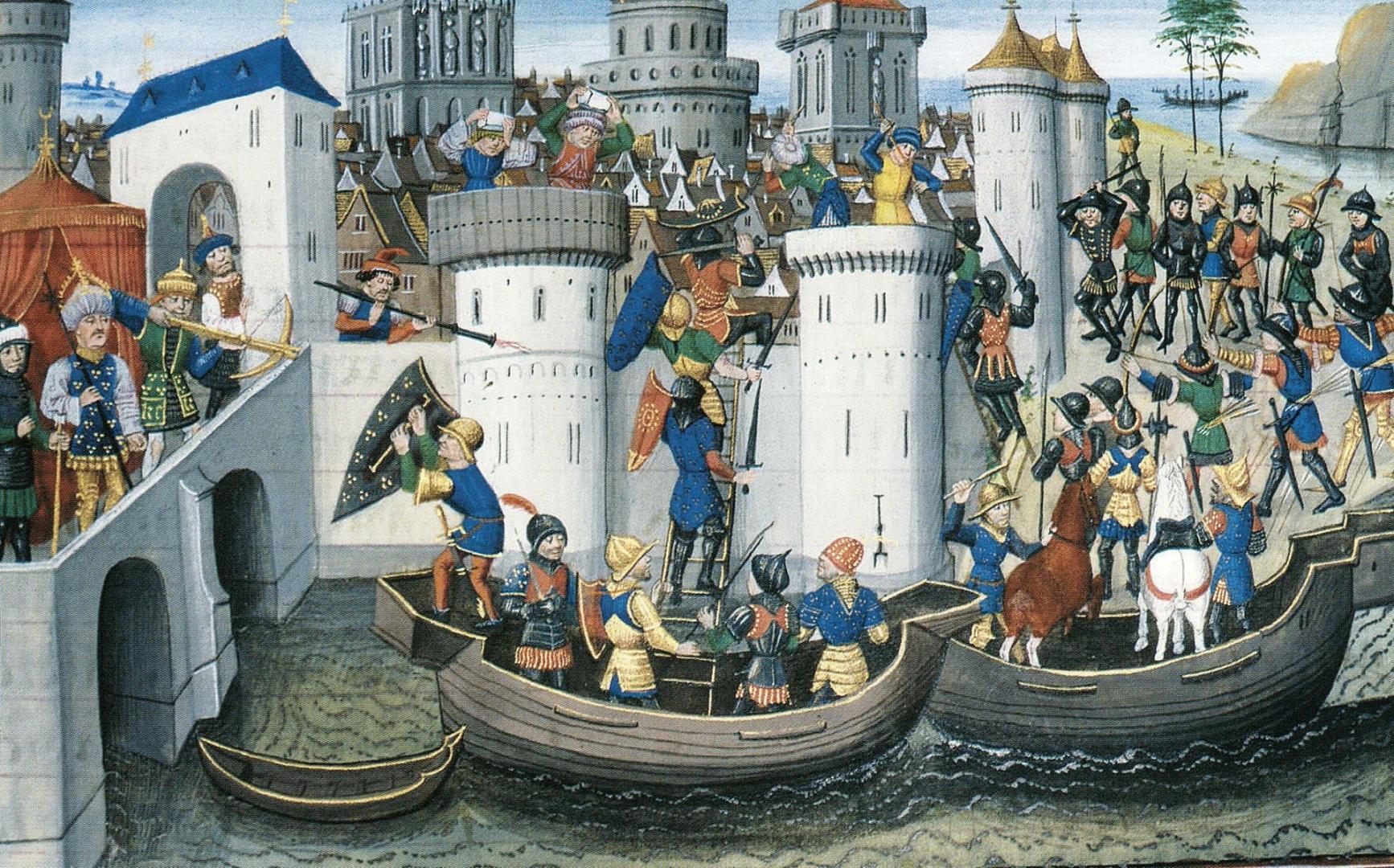 Сцена взятия Константинополя. Картина XIV—XV века