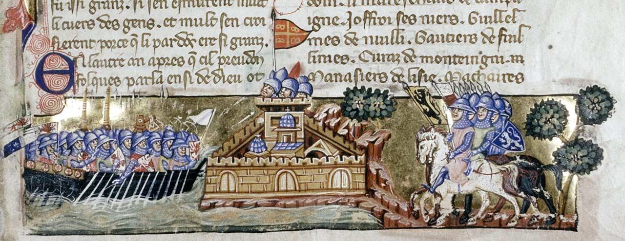 Участники четвёртого крестового похода у Константинополя. Миниатюра к венецианской рукописи Истории Вильгардуэна, ок. 1330