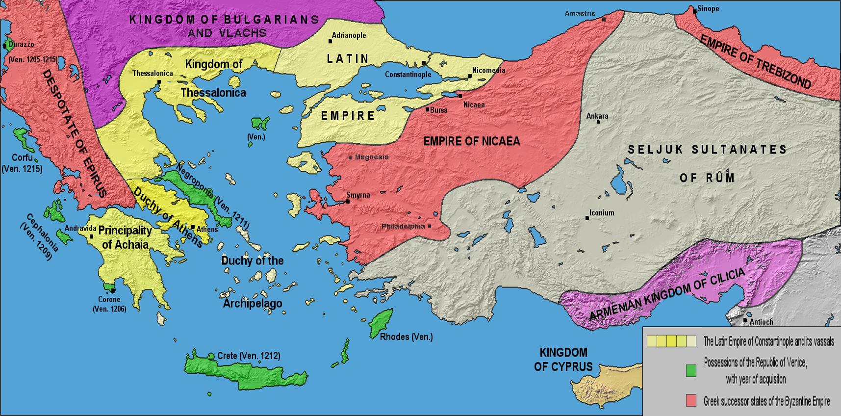 Границы Латинской и Византийской империй после Четвёртого крестового похода (1204) до Нимфейского мира (1214). Границы приблизительны.