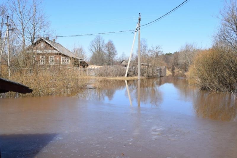 Паводок в посёлке Крестцы Новгородской области