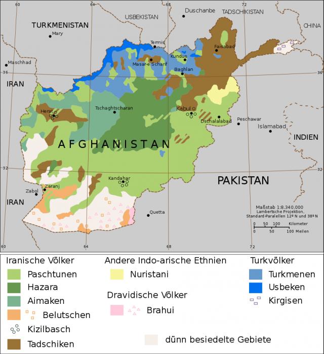Этническая карта Афганистанга