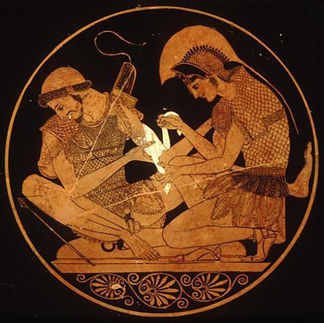 Ахилл, перевязывающий руку Патроклу