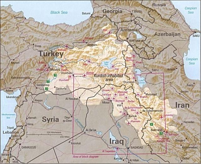 Регионы расселения курдов