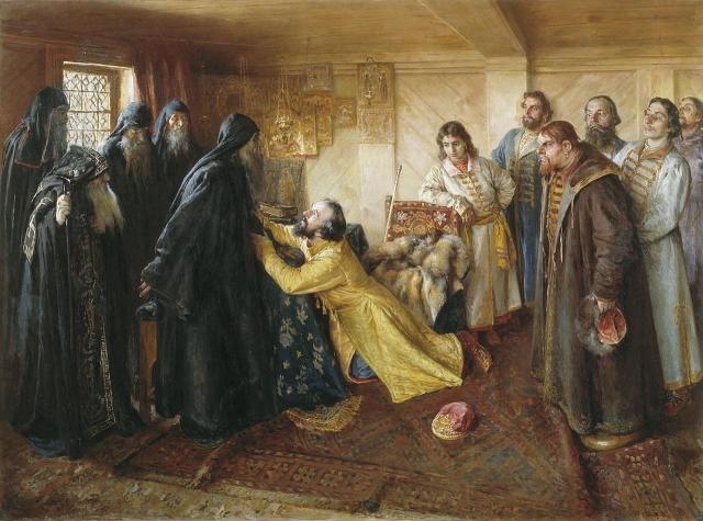 Клавдий Лебедев. Царь Иван Грозный просит игумена Корнилия постричь его в монахи