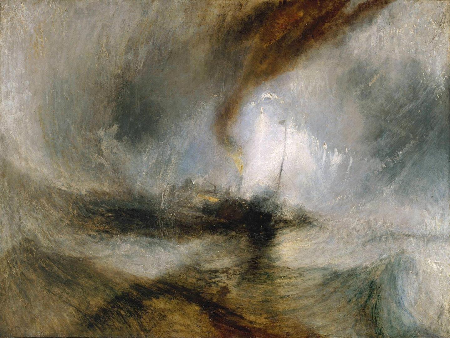 Метель. Пароход выходит из гавани и подает сигнал бедствия, попав в мелководье. 1842
