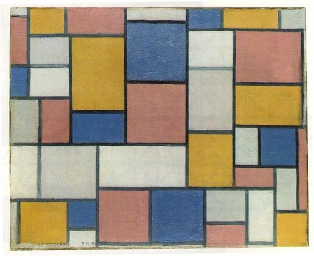 Пит Мондриан. Композиция с цветными плоскостями и серыми линиями. 1918