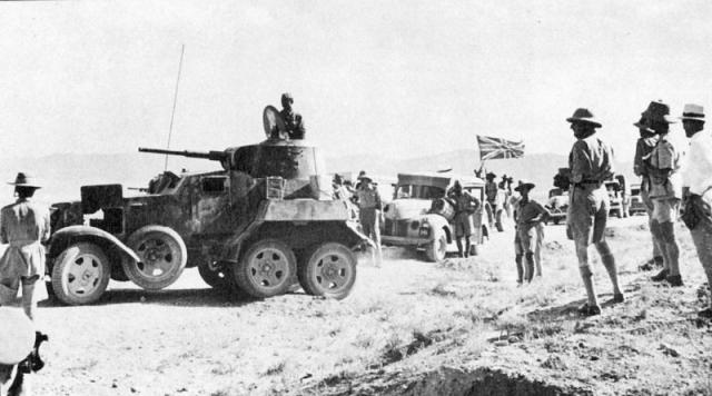 Британская транспортная колонна тылового снабжения с советскими бронеавтомобилями сопровождения. Сентябрь 1941 года. Иран