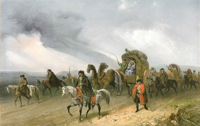 Карло Боссоли. Татары, путешествующие по степи.1856