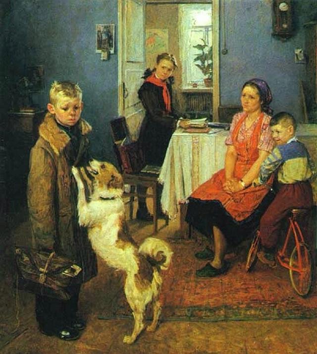 Фёдор Решетников. Опять двойка. 1952