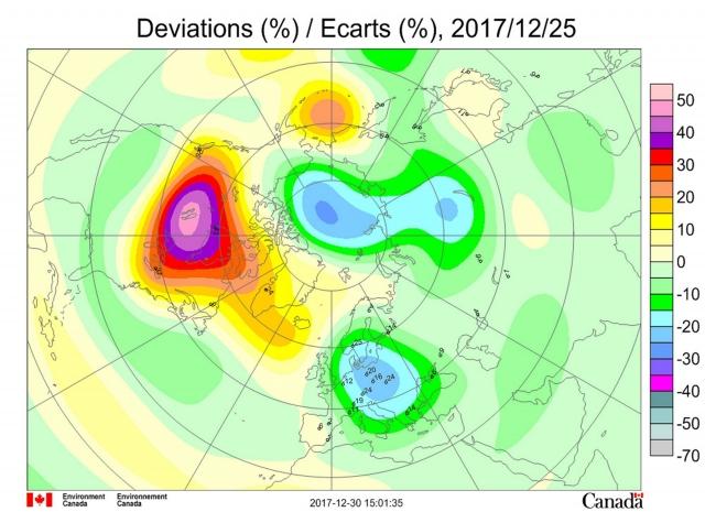 Рис. 6. Аномалии общего содержания озона в Северном полушарии 25 декабря 2017 года