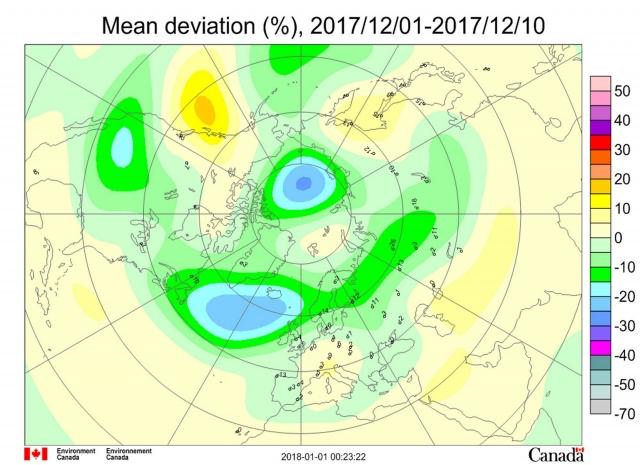 Рис. 5. Среднедекадные (1–10 декабря) аномалии общего содержания озона в Северном полушарии
