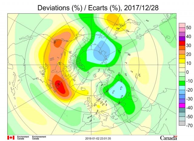 Рис. 7. Аномалии общего содержания озона в Северном полушарии 28 декабря 2017 года