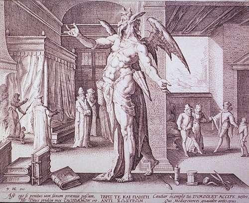 «Аллегория доктора в виде дьявола» изображает доктора, требующего плату за работу