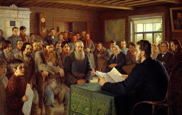 Николай Богданов. Воскресное чтение в сельской школе. 1895