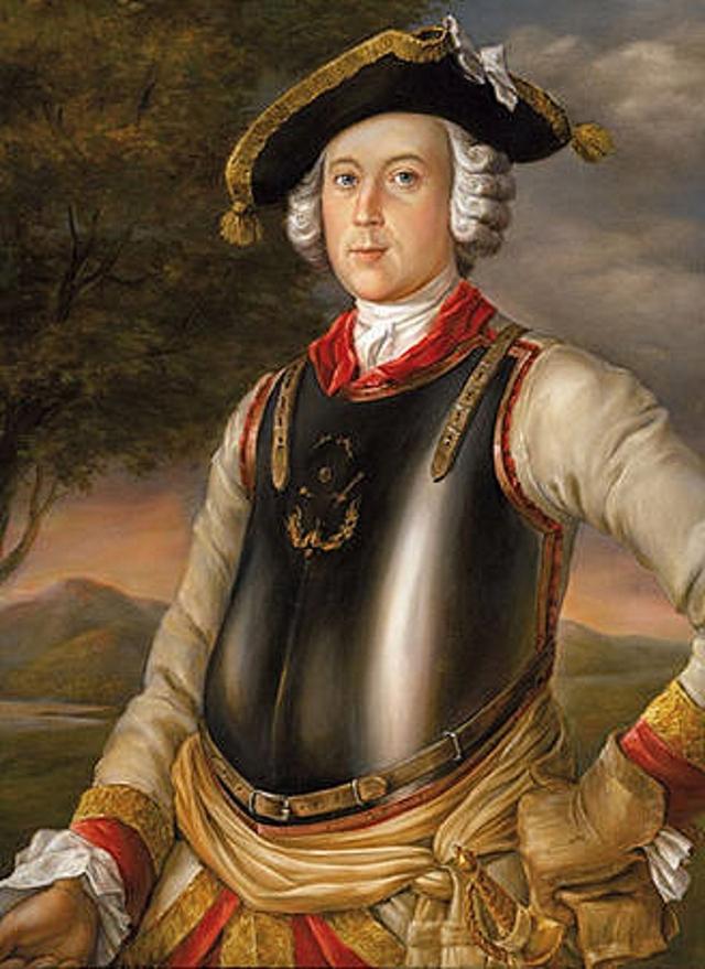 Карл Фридрих Иероним фон Мюнхгаузен (в мундире кирасира). Г. Брукнер. 1752