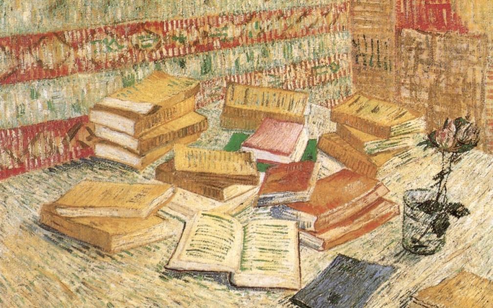 Винсент Ван Гог «Натюрморт с французскими романами и розой» 1887 г.