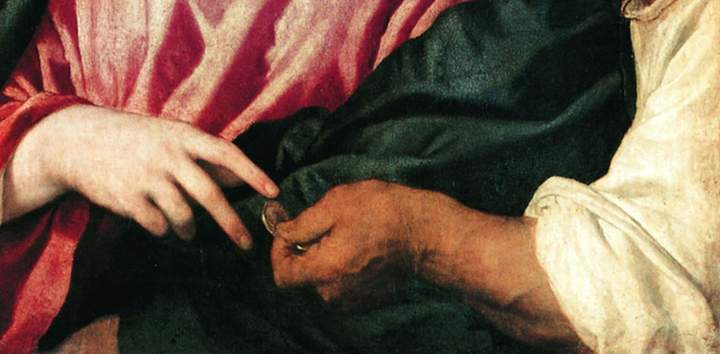 Плата. Фрагмент картины Тициана. Динарий кесаря. 1516