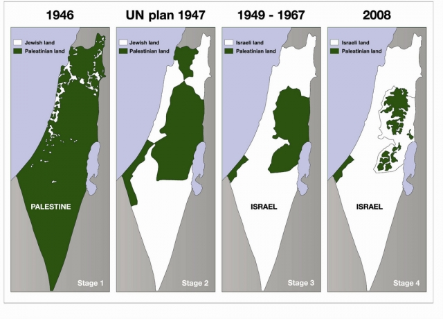 Карта территории Израиля и Палестины в динамике