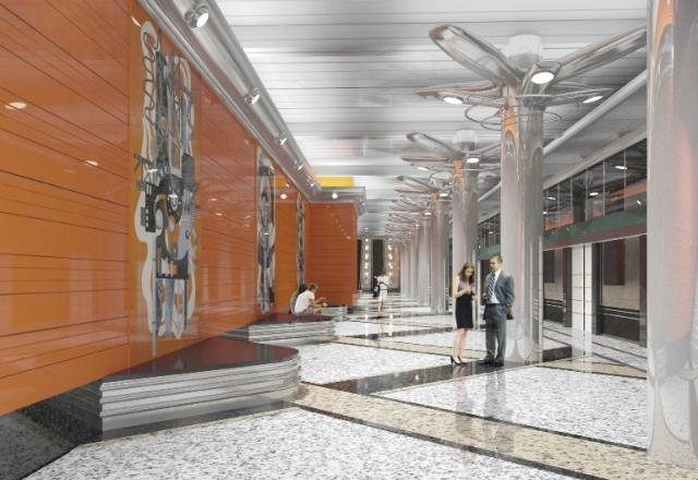 Проект подземного зала станции метро «Беговая» Петербургского метрополитена