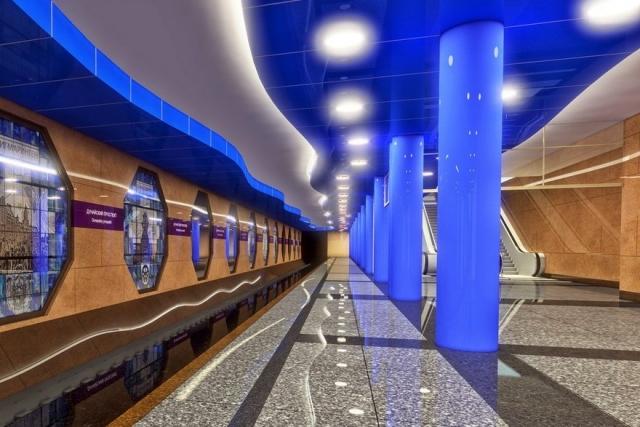 Проект подземного зала станции метро «Новокрестовская» Петербургского метрополитена