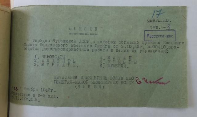 Список населённых пунктов в Чувашии, где по указу Сталина должна были пройти рекогносцировочные работы. Из фондов БУ «ГАСИ». П-1. Оп. 23. Д. 398