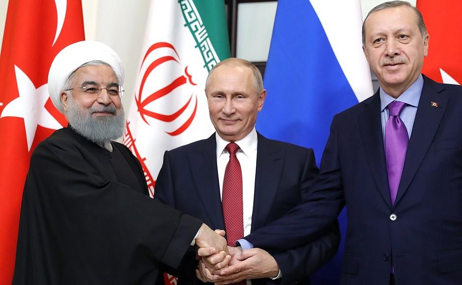 Встреча Владимира Путина с Президентом Ирана Хасаном Рухани и Президентом Турции Реджепом Тайипом Эрдоганом