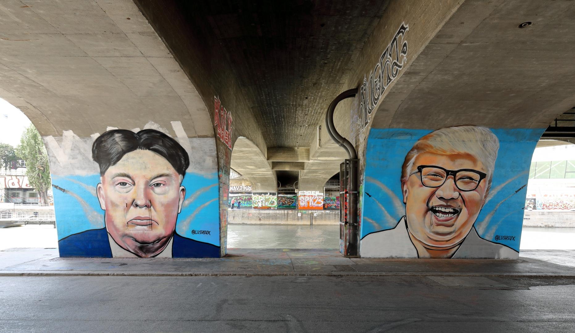 Дональд Трамп и Ким Чен Ын. Граффити.