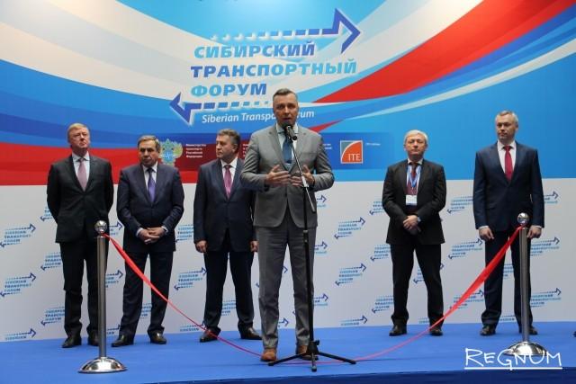 Член комитета по транспорту и строительству ГД РФ Александр Старовойтов на открытии Сибирского транспортного форума.