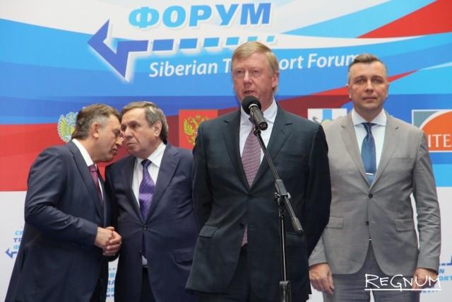 Председатель правления ООО «УК «Роснано» Анатолий Чубайс на открытии Сибирского транспортного форума.