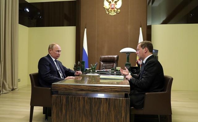 Рабочая встреча Владимира Путина с Дмитрием Медведевым. Сочи, 15 мая 2018 года