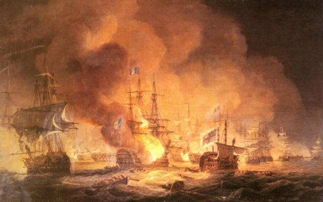 Томас Луни. Битва у Нила 1 августа 1798 г. в 10 часов вечера. 1834